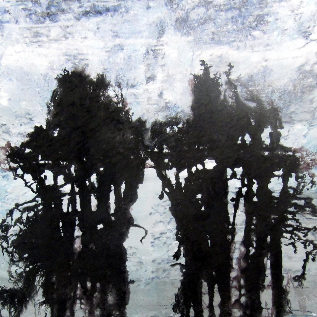 Rorschach,<br> 120 x 120 cm, Acrylique et encre sur bois