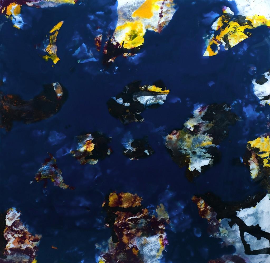 Orages, 120 x 120 cm, Acrylique et encre sur bois, finition epoxy