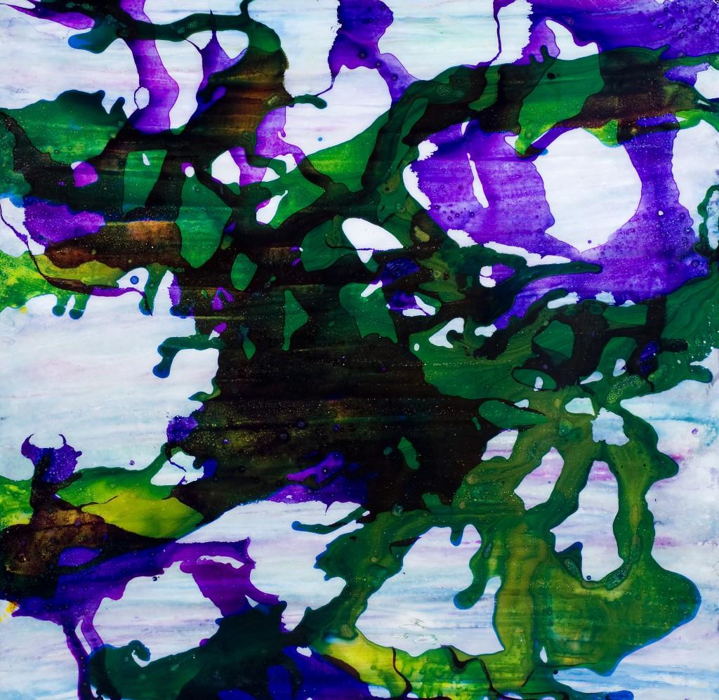 Papillons, 120 x 120 cm, Acrylique et encre sur bois, finition epoxy