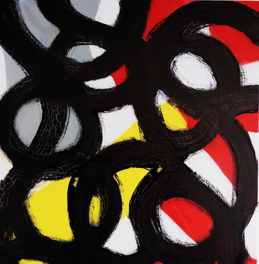 Expression 50, 100 x 100 cm, Techniques mixtes, acrylique, bombe et encre