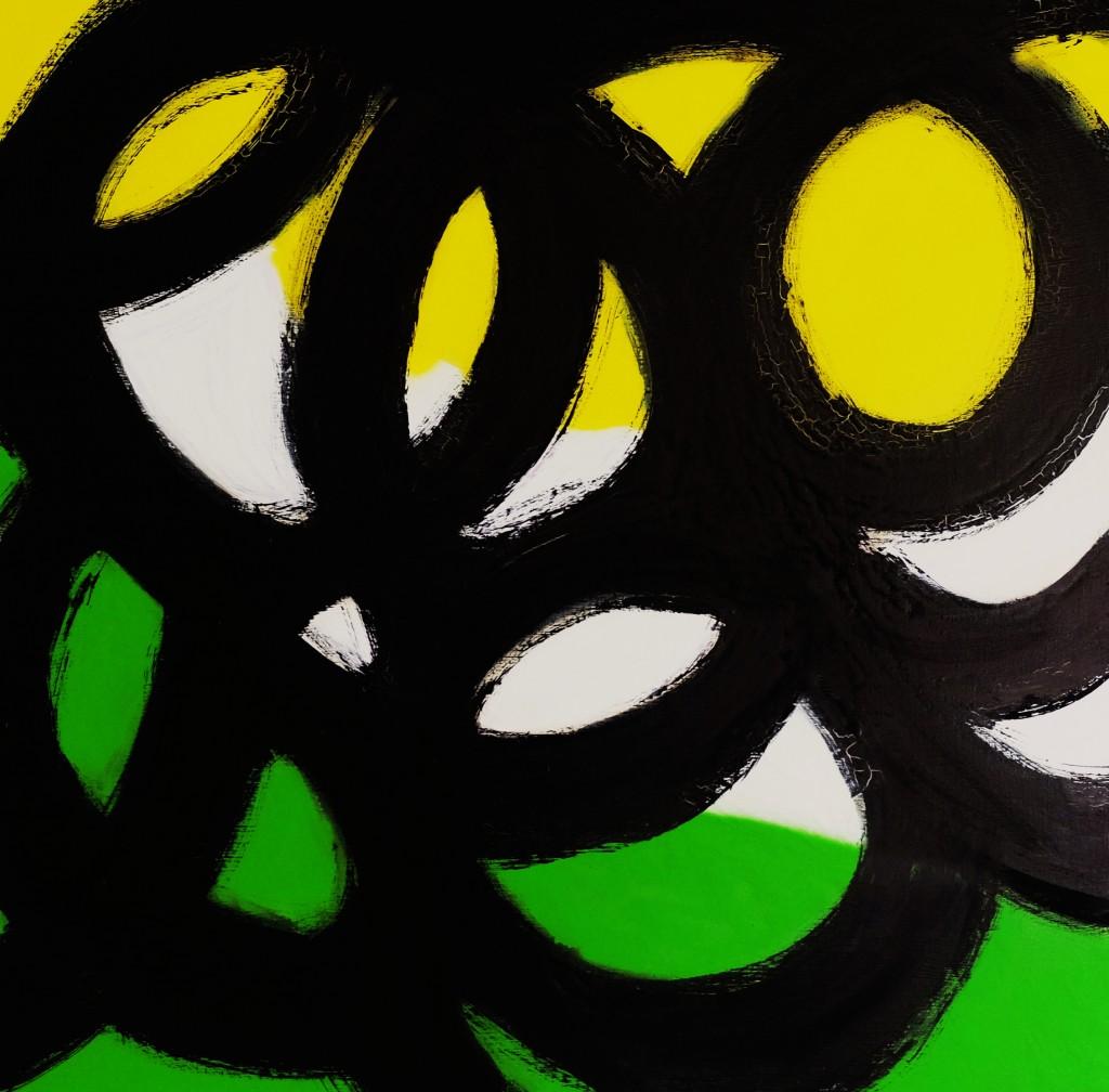 Expression 55, 100 x 100 cm, Techniques mixtes, acrylique, bombe et encre